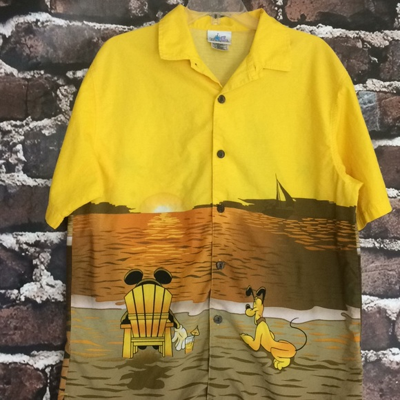 cc347c528 Disney Shirts | Land Mens Hawaiian Button Down Shirt Medium | Poshmark